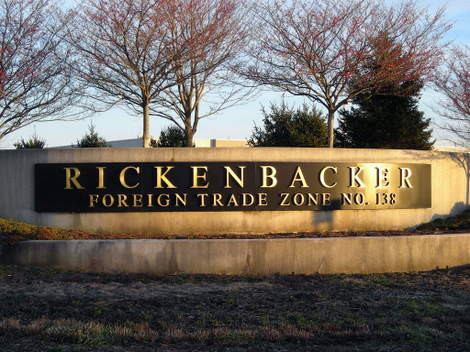 An entrance sign to Rickenbacker Airport