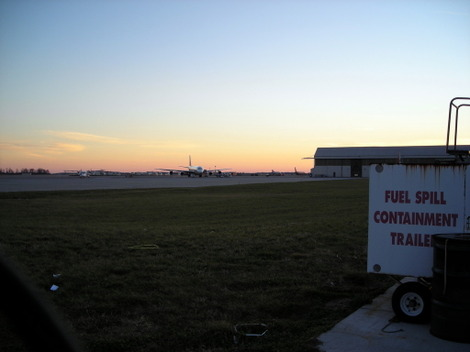 Photo of airliners on the Rickenbacker Airport tarmac at dusk