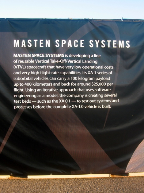 Masten Space Systems' sign on the side of a shipping container at 2006 X Prize Cup