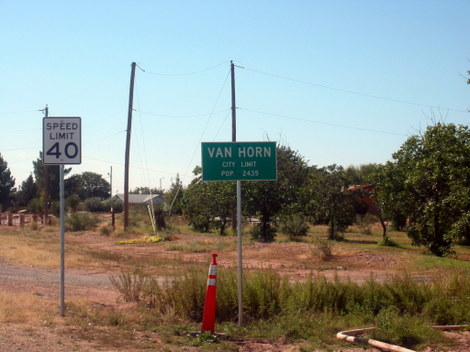 A welcome sign for Van Horn, Texas, population 2,435