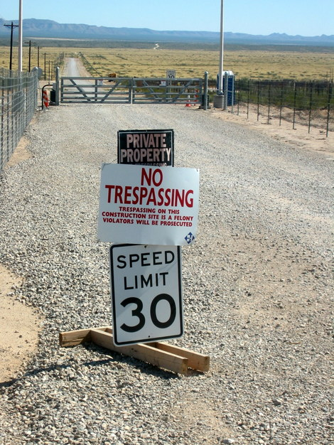 No trespassing sign at entrance to Blue Origin's launch facilities near Van Horn, Texas