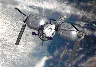 Bigelow Aerospace concept art of space station, with two BA330 modules and one Sundancer module