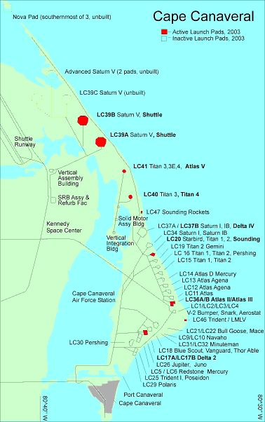 Map of Cape Canaveral Air Force Station and Kennedy Space Center, Showing Launch Sites