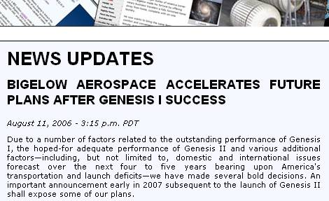 Screen grab of Bigelow Aerospace web site stating that Bigelow Aerospace will accelerate its development plans after successful Genesis I launch