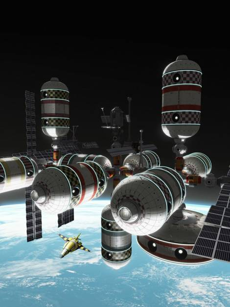 Concept artwork from Mondolithic Studios of CSS Skywalker Bigelow Aerospace space station