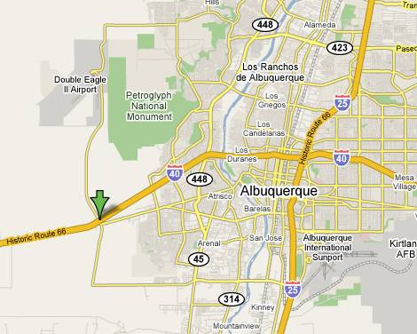 General Location of Tesla Motors Plant in Albuquerque New Mexico